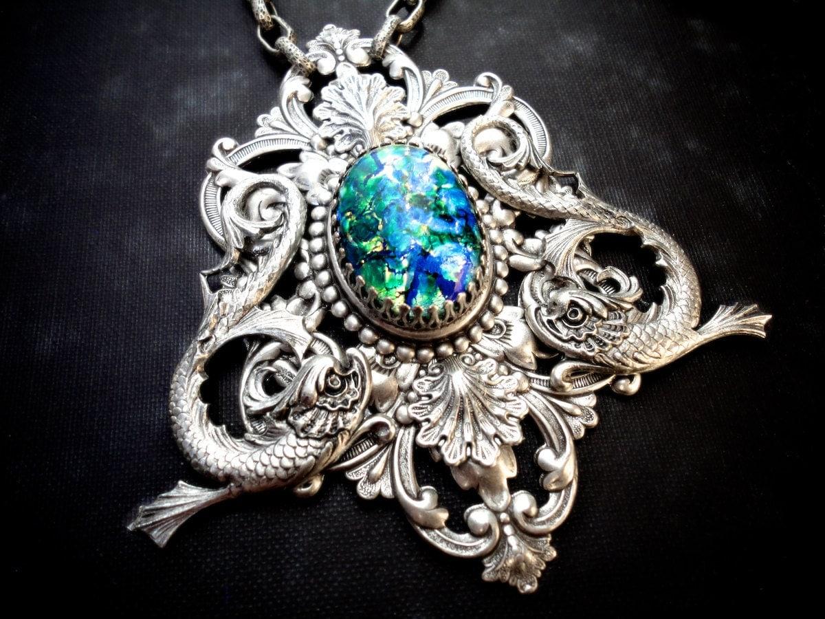 Atlantis Filigree Necklace Neptune Statement Necklace Mermaid