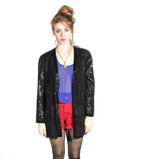 80s vintage // black solid sequin jacket