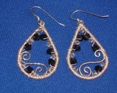 Swarovski Crystal, Glass Seed Bead and Sterling Silver Tear Drop Earrings - jagrocks