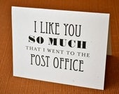 I like you so much I went to the post office - Folded Stationery - Set of 8