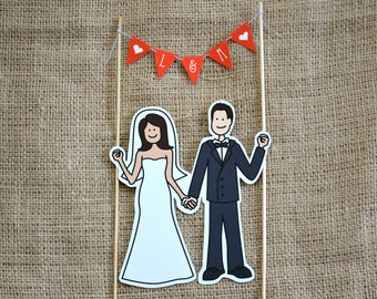 Illustrated Cake Topper and Pennant Banner - Customizable