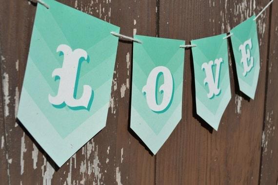 LOVE Banner - Ombre Aqua Chevron Carnival - Photo Prop - Custom