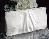 Floral Embroidered Ivory Taffeta & Satin Wedding Clutch Purse - Bridal Collection