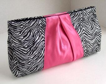 Ribbon Clutch in Metallic Zebra Print Brocade and Hot Pink Satin