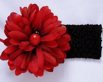 Baby Toddler Headband Ladybug on Red Flower Photo Prop Infants to 12 year old