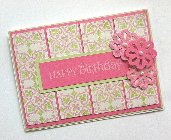 Birthday Card, Pink Birthday Card, Birthday Card for Women or Girls