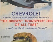 Chevrolet, World War II Ad, The Biggest Transport Job of All Time, Airplanes, Trucks