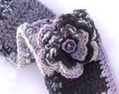 Crochet Headband Ear Warmer with flower and buttons