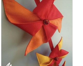 Kids Pinwheel Mobile/Wall Hanging  Red, Orange, Yellow Rainbow