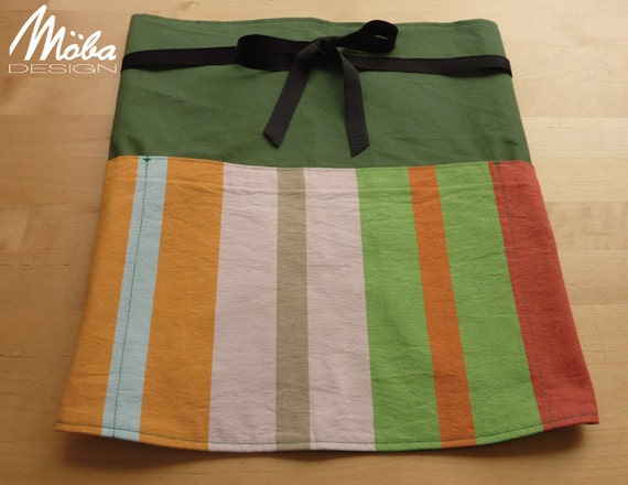 Chef Waist Apron, Forest Green with Multicoloured Wide Stripe with Black Ribbon Tie