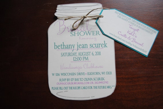 Mason Jar Bridal Shower Invitations with Registry Tag