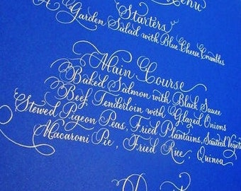 Wedding Calligraphy in White Ink for Invitation,  Escort & Place Cards, Menu, etc. etc. etc.