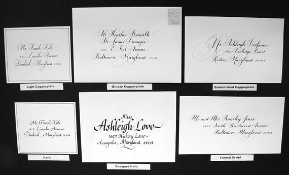 Hand Calligraphy for Addressing Wedding and Event  Invitations