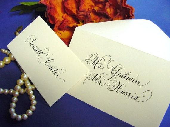 Place Cards Escort Cards in Calligraphy