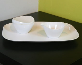 3 piece white Prolon Melmac tray with creamer and lidded sugar