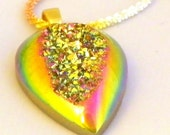 Gorgeous Pink Taupe Drusy Teardrop Necklace, White, Yellow & Rose Gold over Sterling Silver Chain