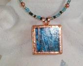 Turquoise glass mosaic tile pendant