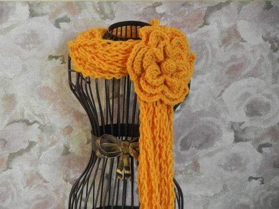 Crochet Lariat Flower Scarf - Mustard Yellow Crochet Scarf