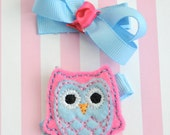 Whoo's Too Cute - Felt Owl  and Boutique Bow clip duo