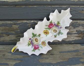 Vintage Porcelain Leaf Shaped Dish - Old Nuremberg Bavaria Germany