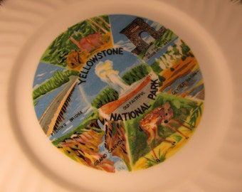 Vintage Yellowstone National Park Souvenir Plate
