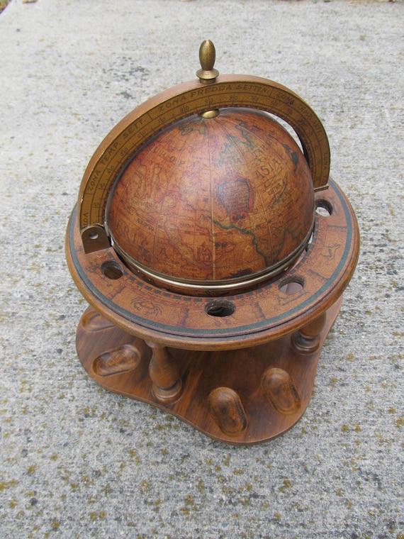 Vintage Italian Globe Humidor And Smoking Pipe Rack Wooden