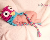 Newborn Baby owl hat crochet Pink and Teal SALE hoot Any Size or Color Photo Studio Prop Hats sleepy awake 0-3 3-6 6-12 toddler child