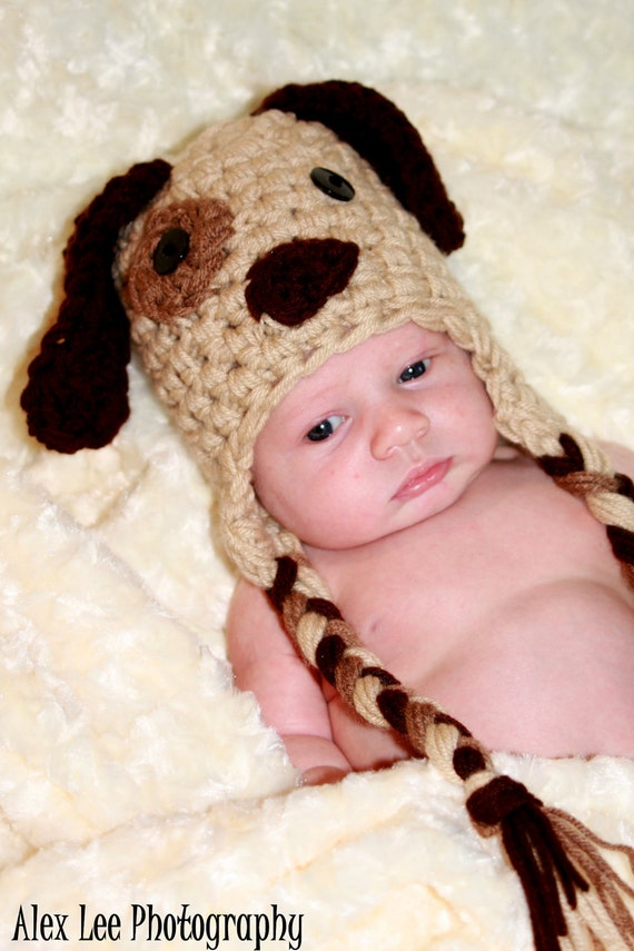 RESERVED RUSH Puppy Dog Hat with BLUE accents- Earflap hat - 3-6 month Baby Photo Studio Prop Hat Photography