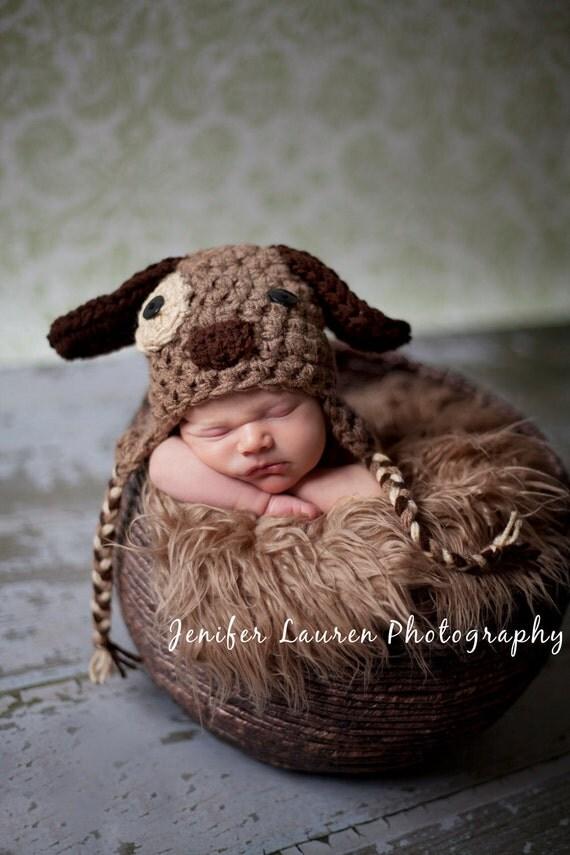 Puppy Dog Hat - Earflap hat - Newborn Baby Photo Studio Prop Hat Photography Doggy Doggie boy girl