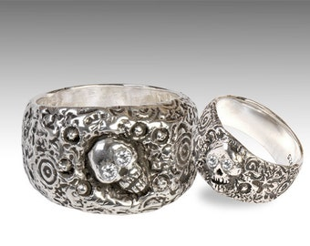 Silver Skull Wedding Ring Set with Diamonds