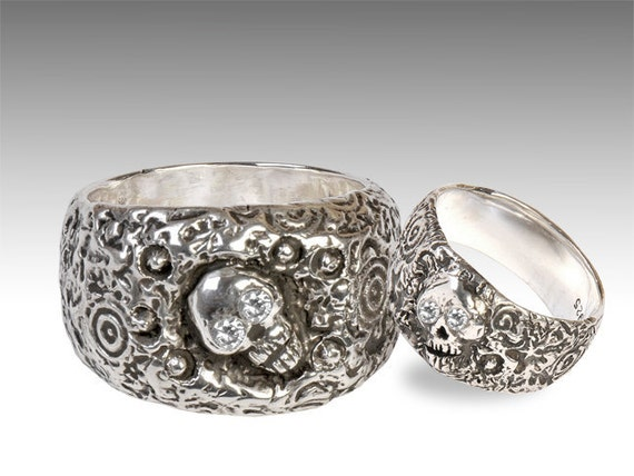 silver skull wedding ring set with diamonds - Biker Wedding Rings