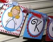 Alice in Wonderland Name Banner by The Party Paper Fairy