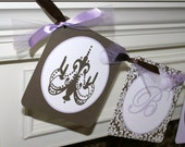 Chic Damask Chandelier Lavender and Brown Baby Shower Banner