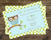 Mod Owl Boy Birthday Invitations by The Party Paper Fairy