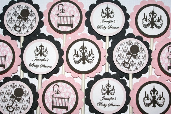 24 Elegant Crib, Chic Damask Chandelier Baby Shower Cupcake Toppers (Pink and Black) by The Party Paper Fairy (ECPG-1)