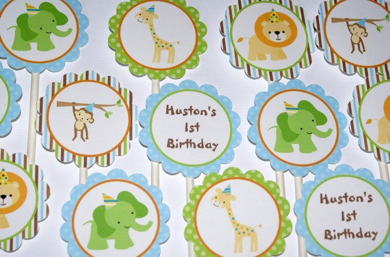 Sweet Safari Cupcake Toppers (24), Baby Animals, Sweet at One Boy 1st Birthday Cupcake Toppers by The Party Paper Fairy (SSBO-1)