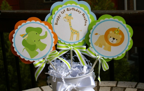 Sweet Safari, Baby Animals, Sweet at One Boy 1st Birthday Centerpieces by The Party Paper Fairy (SSBO-1)