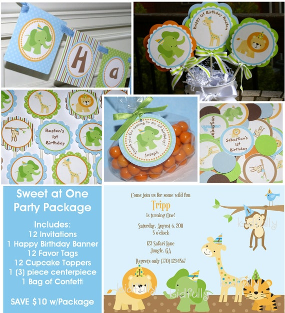Sweet at One Birthday Party Package  - Invitations, banner, cupcake toppers, favor tags & personalized confetti by The Party Paper Fairy