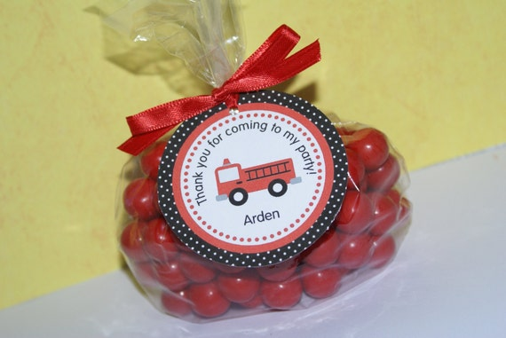 24 Firetruck Favor Tags, Fireman Party, Fireman Theme, Firetruck Birthday Party  by The Party Paper Fairy (FIRE-1)
