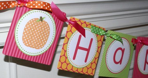 Polka Dot Pumpkin Happy Birthday Banner, Pumpkin Birthday Banner, Pumpkin Party Banner, Orange, Hot Pink & Green (PDPU-1)