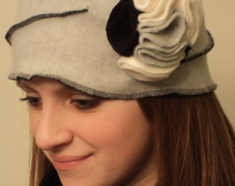 Grey Fleece Pillbox Hat