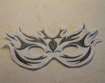 White, Grey & Blue Mardi Gras Mask