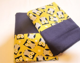 Yellow/Green and Blue Owl Pillowcases