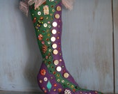 Felt Christmas boot with beads and button findings - Vintage - Handstitched