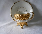 Vintage Teacup and Saucer German Made Gold and White