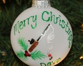 Handpainted Fishing Pole Personalized Pole Ornament with Holly and Berries made with Swarovski Rhinestones - Made to Order