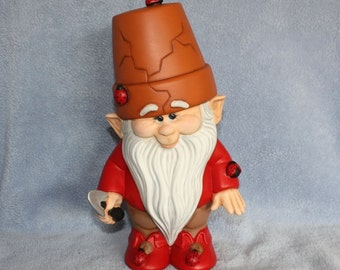 Handpainted Ceramic Crackpot Gnome in Red and covered with Ladybugs