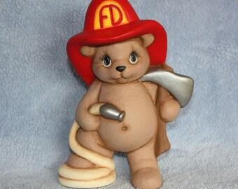 Handpainted Ceramic Minature Fireman Bear