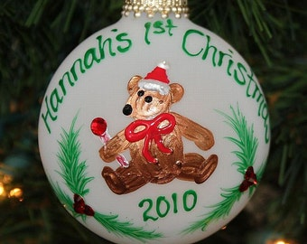 1st Christmas Bear Ornament - Handpainted and Made to Order