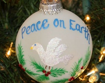 Handpainted Christmas Peace on Earth Dove Personalized Ornament with Holly and Berries made with Swarovski Rhinestones - Made to Order